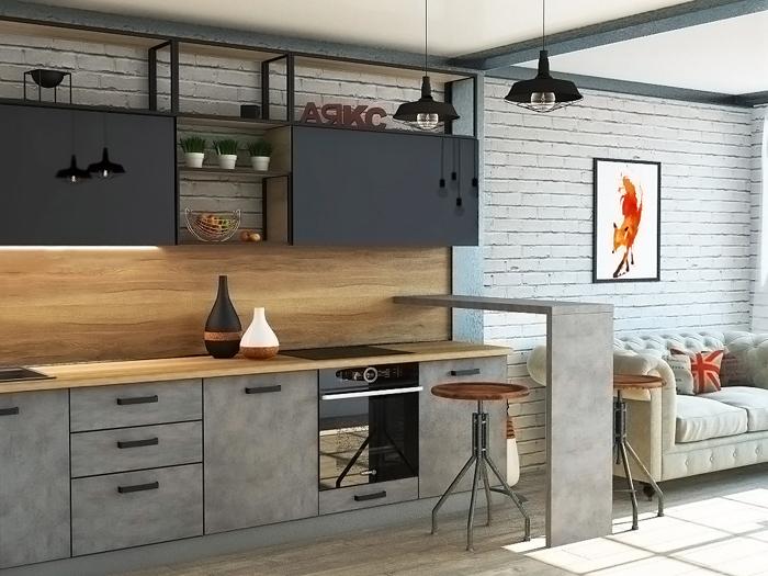 кухня бетон лофт